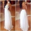 Weiß rückenfreie Spitze-Chiffon- langes Kleid