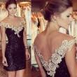 Reizvoller Pailletten Rückenfreies Gaze Spitzenkleid Abendkleid
