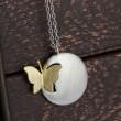 Weinlese-Schmetterlings-hängende Halskette / Silber Schmuck