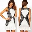 Elegante Mini Schwarz Spitze Volant-Kleid