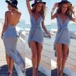 Reizvoller tiefer V Unregelmäßige Spalt-Strand-Kleid