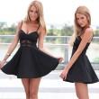 Reizvoller V-Ausschnitt Taille Spitzehosenträger-Kleid