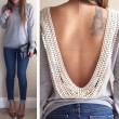 Sexy Rückenfrei Lange Hülsen-Spitze Shirt-Oberseiten