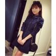 Mode Revers Normallacks der Taille Denim-Kleid