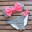 Bowkow Und Streifen-Bikini-Badebekleidung Badeanzüge Bikini-Badeanzug