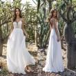 Süßes rückenfreies weißes Spitzen-tiefes V-Riemen-Chiffon-Kleid-Party-langes Kleid