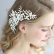 Süss Perle exquisiter Kristall Handgemachte Haare Kamm Blätter Braut Blume Hochzeit Haarzubehör