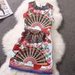 Klassische Bunter Druck ärmellose Organza-Kleid