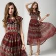 Charmante stilvollen Damen lagertes Chiffon-Kleid