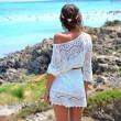 Gestrickt Weiß Hohl Kleid Strand Perspektive Hängerkleid