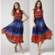 Neue Art und Weise elastische Taillen-Dot Ärmelloses Chiffon-Kleid