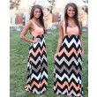 Ärmelloses O-Ansatz Spleiß Wellen Kleid