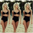 Sexy Crop Top Schwarz Bikinis Set Hohe Taille Bademode Strand Badeanzug