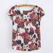 Lachen Schädel Blume Gedruckt T-Shirt