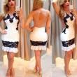 Sexy Frauen Spleißen Schwarz Spitze Rückenfrei Eng anliegend Ärmellos Rock Kleid