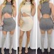 Frauen hohe Kragen unregelmäßige ärmellose Paket Gesäß zweiteilige Kleid
