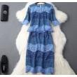 Sexy Kontrastfarben aushöhlen zweiteilige Spitze Rock Anzug Party Kleid