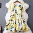 Mode Zitrone Drucken Perlensilm Kurzarm Kleid Party Kleid