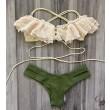 Heiß Sexy Badeanzug-Badebekleidung vorzügliche Spitze Grün Triangel-Bikini