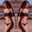 Sexy Trägerlosen Kragen Schwarze Spitze Bikini Badeanzug Bademode