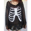 Einzigartiger Skull Skeleton Sequined Hollow Out Sleeve Pullover