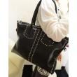 Mode Schwarz Nieten Reißverschluss Handtasche Schultertasche