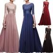 Mode mittleren Ärmeln Spitze Partykleid Chiffon langes Abendkleid