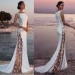 Mode neu Seitwärts Perspective Lace ärmelloses weißes Brautjungfern-Langkleid-Partykleid