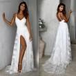 Modisches tiefes V-Brautjungfernkleid ärmellos rückenfrei Gurt Seite offen Langes Hochzeits-Spitze Maxikleid Partykleid Abendkleid