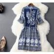 Folk Style Kragen Einreiher Drawstring Taille Kleid Party Kleid