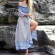 Frauen-horizontale Neck Bohemian Printing Lateral Split Kleid