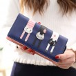 Schöne lange Katze Zipper Phone Wallet Lady Geldbörse Kätzchen Handtasche