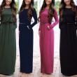 Einfachen Stil Rundhals Maxi Tasche Schlank Taille Langarm Kleid mit Gürtel
