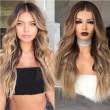 Mode braun Farbverlauf lockiges Haar große Welle lange Perücke lockiges Haar Perücke