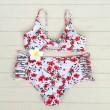 Schöne Blumen gedruckt Bikini Multi Seil Badeanzug hohe Taille Sommer Badeanzug