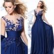 Mode Damen Lange Spitze Prom Kleider Luxus Durchsichtig Blumen Abendkleid