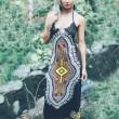 Frauen Ärmelloses Muster Printing Trägerlos Dünnes Kleid