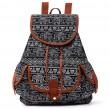 Volk Irregulär Totem Geometrisch Muster PU Elefant Drucken 3 Taschen Schule Leinwand Rucksack
