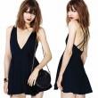 Reizvolle V-Ausschnitt Neckholder überkreuzten Riemen Chiffon-Kleid