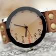 Retro kreativen Zahl Leder Uhr