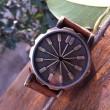 Retro Zusammenfassung Bronze Leder Uhr