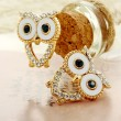 Schöne Vergoldete Höhle-Herz Green Diamond Augen-Eulen-Ohrringe