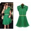 Frische grüne Revers Einreiher Chiffon-Kleid