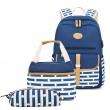 Einzelschnalle Streifenpunkt Schultasche für Teen Laptoptasche Rucksack mit USB-Anschluss Handtasche Federmäppchen 3-teiliges Set Rucksäcke aus Canvas für Studenten