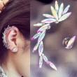 Einzigartige Elb Flügel weißem Kristall Asymmetrische Ohr Ohrclips Ohrringe