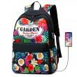 Frische Blumen Garten Student Tasche USB Floral groß Hochschule Segeltuch Rucksack