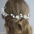 Frische Braut weiße Blume Zweig Blätter Perle Kristall Hochzeit Haarband Haarnadel Zubehör