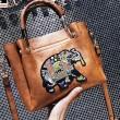 Lovely Cartoon Bucket Bag Elephant Embroidery Handbag Animal Shoulder Bag