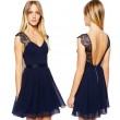 Reizvolle Marine-Blau-Spitze-Backless Des Chiffon-Kleid