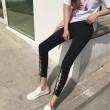 Retro Vorderseite Ausschneiden High Slit Lace-up Neunten Black Chick Girls Dünne Legging